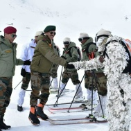Lt Gen YK Joshi visits forward posts in Siachen sector